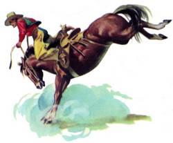 horse bucking cowboy