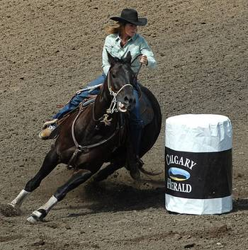 barrel racing at Calgary Stampede
